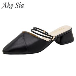 $enCountryForm.capitalKeyWord Australia - Party Chic Women Mules Slipper Pointed Toe Block Strap Closed Shallow High Heels Shoes Sandals Black Beige Square Heel Pumps