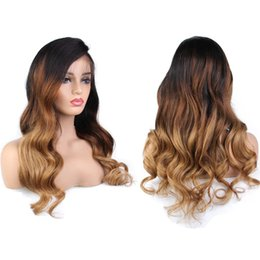 $enCountryForm.capitalKeyWord NZ - Ombre Color Full Lace Human Hair Wigs Pre Plucked Brazilian Wavy Lace Frontal Wig With Baby Hair Remy Hair