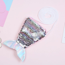 sequin bag wholesalers Canada - 2019 new sequins coin purse lanyard coin bag small wallet children diagonal small bag fish tail two-color sequins purse women