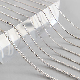 $enCountryForm.capitalKeyWord Australia - High quality s925 Sterling Silver snake chains Necklace Box Chain 1-2MM Lobster Clasps Chain 18 25 inch Accessories Fashion Jewelry