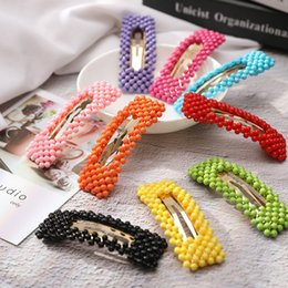 Simple handmade hair acceSSorieS online shopping - Simple And Stylish Rectangular Hairpins For Girls Handmade Bead Barrettes Fluorescence Color Hair Accessories Hot Sell dm M1