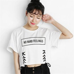 $enCountryForm.capitalKeyWord Australia - New Summer Crop Tops Women T Shirt Letter Print Short Sleeve Lace Up Cotton Loose Sexy White T-shirt Dance Tee Tops