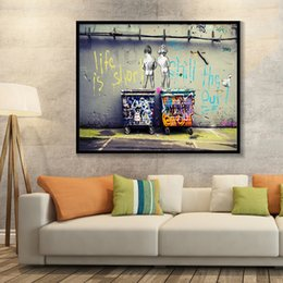 "out decor NZ - Banksy Graffiti Art Abstract Canvas Painting ""Life Is Short Chill The Duck Out"" Wall Canvas Art Home Decor 191003"