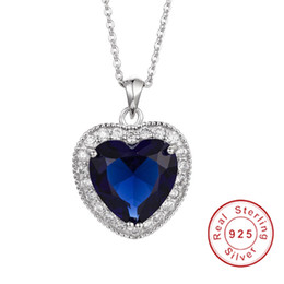 blue sapphire pendants 2019 - Luxury Really 925 Sterling Silver Necklace Big 6ct Heart Blue Sapphire Wedding Pendant Necklace for Women Jewelry gift d