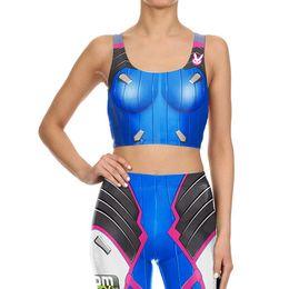 $enCountryForm.capitalKeyWord Australia - Blue Vest Leggings suit Game Cosplay 3D Print Women Yoga Sets Role Play BodySuit Training Sets Elastic Slim Fitness Club Costume