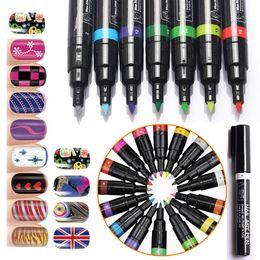 $enCountryForm.capitalKeyWord Australia - 3D Nail Art DIY Decoration Manicure Tools 16 colors Nail Polish Pen for Art Pen UV Gel Drawing Tool