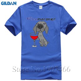 cool clothing red NZ - Men's Tee Shirt Funny Cool Weimaraner Dog Drinking Red Wine Art Plus Size Clothing Crew Neck Shortser Men's Fun T Shirts