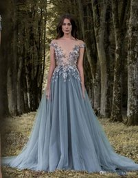 line prom dress plunge neckline 2019 - New Sheer Plunging Neckline Appliqued Party Gowns Cheap Sweep Train Tulle Beads Evening Wear For Women Paolo Sebastian L