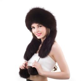 8577721b472 Woman Winter Real Fox Fur Long Ear Cap Female Earflap Warm Hat Princess Russian  Hats
