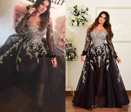 Silver Black Red Australia - Plus Size Off Shoulder Prom Party Dresses with Long Sleeve 2019 Black Silver Shiny Lace Applique Dubai Arabic Occasion Evening Gown