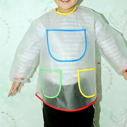 Contrast Painting Australia - Kids Round Neck Long Sleeve Waterproof Patchwork Painting Contrast Color Smock 3-4 Years Old Pocket Apron