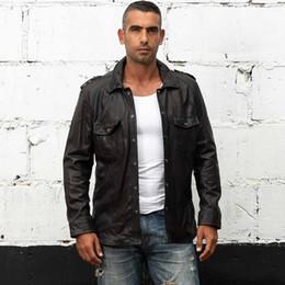 Fold Jacket NZ - Factory 2017 New Men's Motorcycle Leather Shirt Jacket Male Black fold thin Genuine Sheepskin tight style biker Jackets