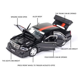 die cast models Canada - 1:32 Mercedes Benz W201 AMG Car Model Alloy Car Die-cast Toy Car Model Sound and Light Children's Toy Collectibles Free Shipping
