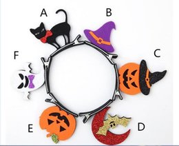wholesale plastic bats UK - New Halloween party dress up a children's stereoscopic bat-pumpkin skull and skull festival gift