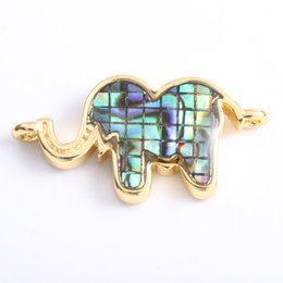 $enCountryForm.capitalKeyWord Australia - Singreal Abalone Shell Micro Pave Elephant Charms Bracelet necklace Choker Pendant connectors for women DIY Jewelry making