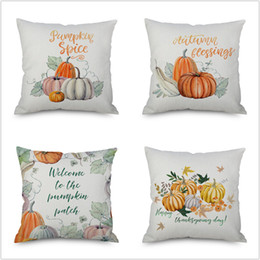 pumpkin bedding Canada - Jarl Home Pumpkin Linen Cushion Cover Throw Pillowcase Watercolor 45 cm Country Style Halloween Thanksgiving Gifts Room Bed Car Covers