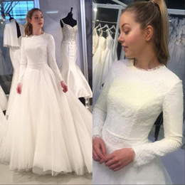 muslim wedding gowns dubai 2020 - Dubai Muslim A Line Wedding Dresses Long Sleeves Lace Appliques Wedding Dress Jewel Neck Tulle Bridal Gowns Custom Made