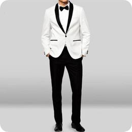 $enCountryForm.capitalKeyWord Australia - Ivory Grooms Wedding Tuxedos for Men Suits Outfits 2Piece Satin Shawl LapelMan Items Red Groomsmen Wear Slim Fit Terno Masculino Party