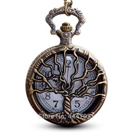 Necklaces Pendants Australia - Tree of Life Pocket Watch Chains Necklace Hollow Quartz Pocket Watches Steampunk Fob Pendant Men Women Gifts reloj de bolsillo