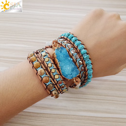 $enCountryForm.capitalKeyWord Australia - Csja Natural Gems Stone Bracelet Druse Druzy Geode Slice Jewellery For Women 5 Strands Wrap Bracelets Fashion Boho Jewelry S224 MX190718