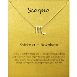 zodiac gold charms Canada - Fashion Jewelry 12 Constellation Scorpio Pendant Necklaces For Women Zodiac Chains Necklace Gold Silver Color Birthday Gift