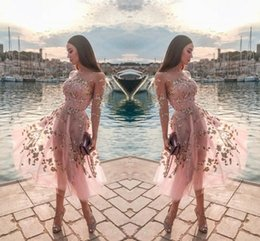ClassiC printing online shopping - Pink Tulle Tea Length Party Dresses Sheer Neck Long Sleeves Lace Appliques Formal Party Short Prom Evening Gowns Women Casual Dress