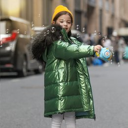 winter shiny jacket UK - White Duck Down Kid Girl Racoon Fur Collar Thick Warm Children Shiny Winter Jackets Kids Down Jackets For Boy Coat Teenage Parka