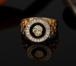 $enCountryForm.capitalKeyWord Australia - party ring New Fashion Gold and Silver Colors Classic Men's Punk Style Hip Hop Ring Lion Head males man Finger rings for men women Size7-12