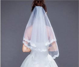lace layers NZ - On Sale In Stock Cheap Bridal Wedding Veils Short 2 Layers White Bridal Veils with Comb Lace Appliques Tulle Wedding Veils