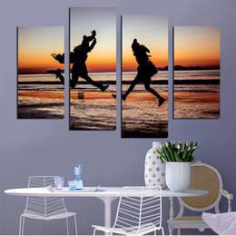 $enCountryForm.capitalKeyWord Australia - HD Painting Modern Artwork Canvas Wall Art 4 Pieces Pcs Sandy Beach Sea Scenery Printed Picture Modular For Living Room Home Decor
