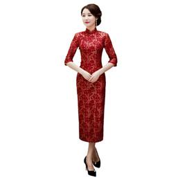 f4e9d9e6fba Mesdames élégantes dentelle demi-manche robes traditionnelles chinoises  main bouton Qipao col mandarin Sexy Cheongsam Plus la taille M-3XL