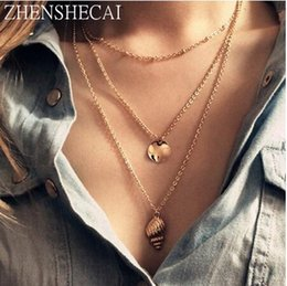 $enCountryForm.capitalKeyWord Australia - Statement multilayer gold chain necklace women conch pendant Fashion jewelry long necklace Party charm women accessories x98
