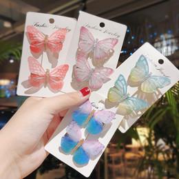 Children CroChet hair aCCessories online shopping - 2Pcs Set Colorful Simulation Butterfly Hair Clips for Girls Children Cute Hairpins Fashion Barrettes Hair Accessories