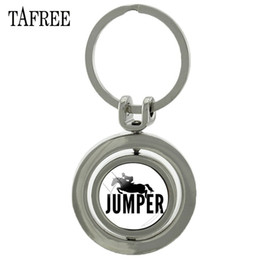 $enCountryForm.capitalKeyWord Australia - New Arrival Horse Riding Silhouette Revolving Pendant Keychain High Quality Glass Cabochon With Double Side Jewelry SP520