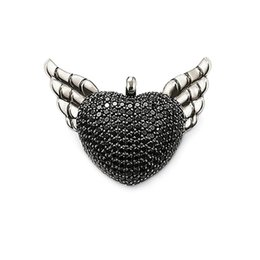 $enCountryForm.capitalKeyWord UK - Wings Heart Pendants for Necklace Pave Setting Black CZ Silver Fashion DIY Jewelry Making Accessories Women Men 2018 New Arrival