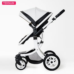 Baby Gift Delivery Australia - Teknum 2 In 1 High Landscape X Design Baby Stroller newborn baby pram Six Free Gift HK free delivery 0-3 year Leather Pram