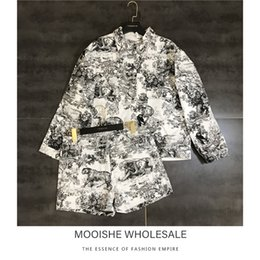 Piece Paintings Australia - Inkjet Painting Chinese Painting Landscape Animal Suit Jacket + Shorts 2 Piece Set For Summer
