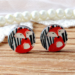 3d bead patterns 2019 - ashion Jewelry Beads 10pcs Unique 3D Fox Embossed 16mm Round Coloured Drawing pattern Laser Cut wood Cabochon DIY for Ri