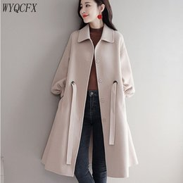 ca209d42c482 2019 Autumn Winter Women Woolen Jacket Coats Korean Loose Long Sleeves High  Quality Ladies Overcoat Elegant Wool Coat Female W82