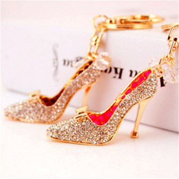 stainless steel heels shoes Australia - Gold Diamond High Heel shoes keychain key rings Mini women Crystal Shoe Keychains handbag hanging Phone Charms Pendant