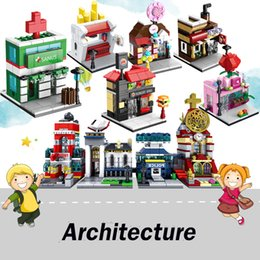 block shop Australia - Architecture Mini Creator Street View Building Blocks Store Shop House DIY Mini Brick Figures Toys for children gifts