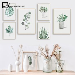 home decoration canvas prints Australia - Watercolor Plants Leaf Canvas Poster Nordic Style Print Scandinavian Wall Art Painting Decoration Pictures Minimalist Home Decor