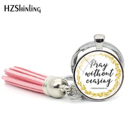 $enCountryForm.capitalKeyWord Australia - 2019 New Thessalonians 5 17 Tassel Keychain Pray Without Ceasing Keychains Glass Cabochon Handmade Photo Jewelry