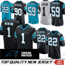0e552a6a4 Carolina 22 Christian McCaffrey Panther jerseys 1 Cam Newton 59 Luke  Kuechly 90 Julius Peppers jersey High-quality