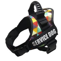 Harnais pour chien de compagnie Poignée réfléchissante Réglable Anti-collision Gilet Harnais Harnais pour chien de grande taille Collier camouflage en Solde