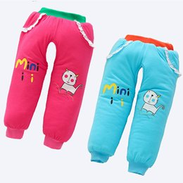 Wholesale printed thick elastic resale online - 2018 Winter Newborn Cotton Padded Trousers Baby Boy Girl Winter Pants Thick Warm Open Crotch Baby Quilted Pant Outwear