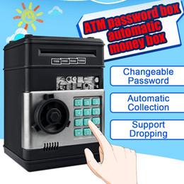 Nouvelle électronique Tirelire ATM Mot de passe Tirelire espèces Pièces d'économie Guichet automatique Banque fort Coffre-fort automatique Banknote cadeau enfant en Solde