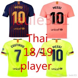 aa79ba4797a Messi Away Shirt UK - PLAYER 2018 2019 FC Barcelona MESSI Soccer Jersey  third away pink