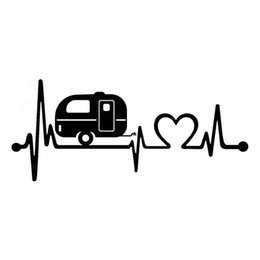 car campers 2019 - The 2nd Half Price 20.3cm*8.9cm 3D Car Stickers Camper Heartbeat Car Body Window Stickers Car-styling decals Accessories