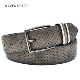 $enCountryForm.capitalKeyWord Australia - Men's Casual Fashionable Jean Waistband Belt With Gun Metal Buckle Dot Style Split Leather Casual Man Dress Belt Dark Grey Color